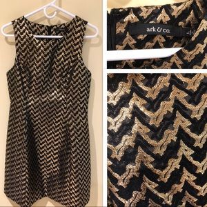 Ark & Co. Black and gold print dress